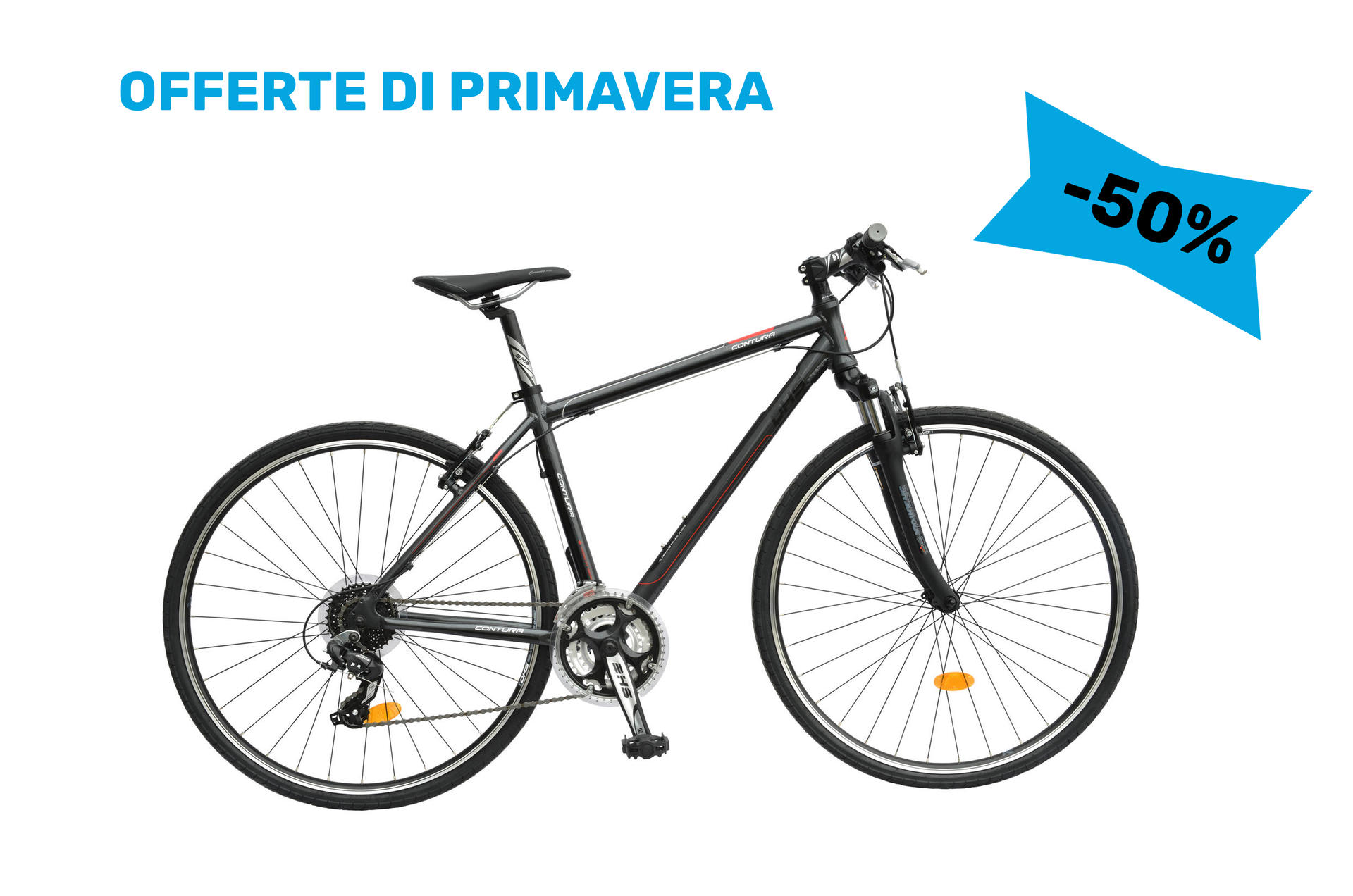 Bicicletta uomo da cross contura DHS 2865 Grey-Red 530mm