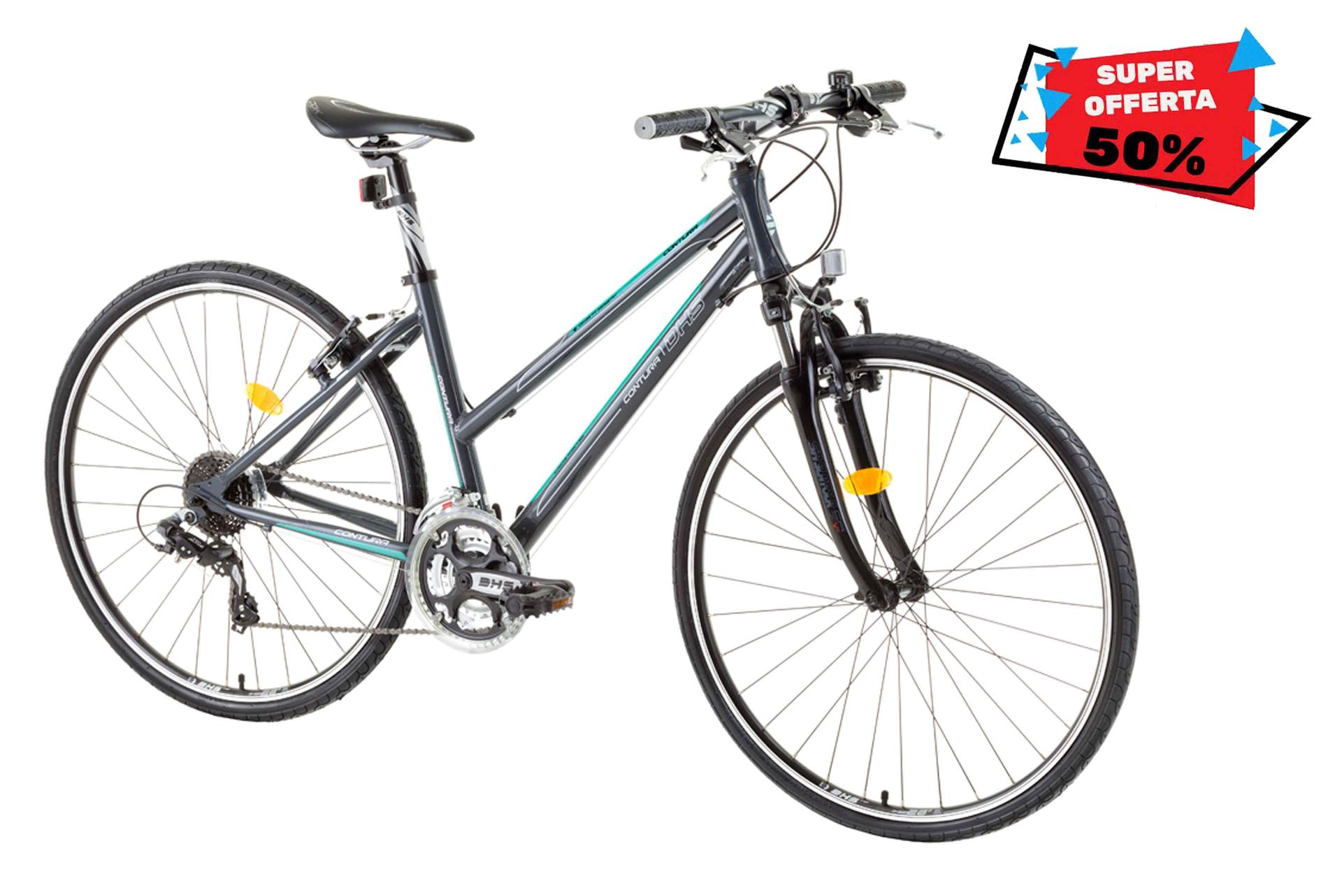 Bicicletta cross da donna DHS 2866 Grey-Green 495mm