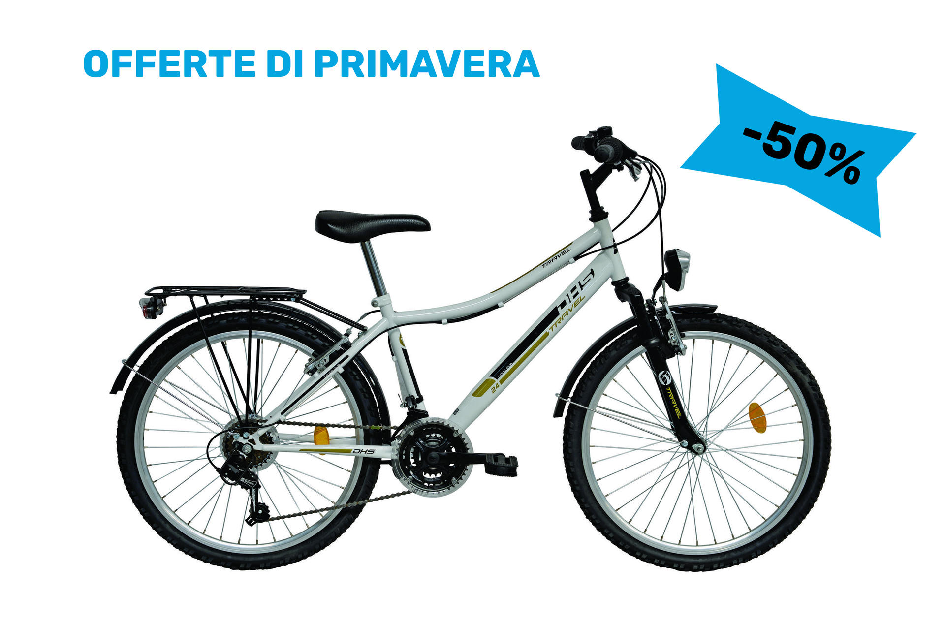 Bicicletta da ragazza travel DHS 2431 White