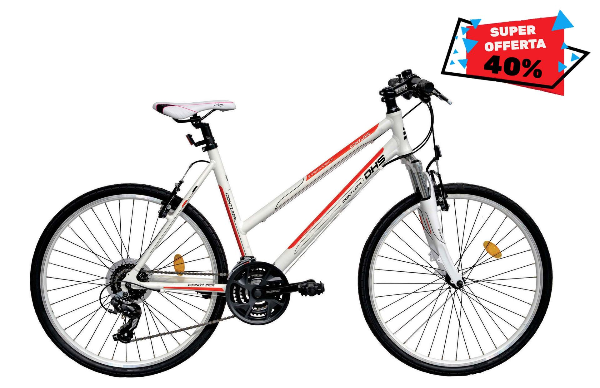 Bicicletta donna da cross DHS 2666 White-Orange 495mm