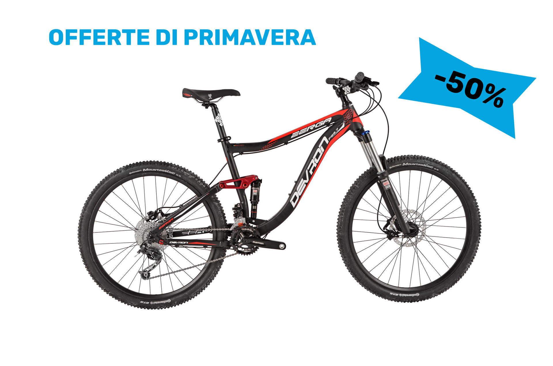 Mountain bike full suspension Devron Zerga FS6,7 430 mm  Black-Red