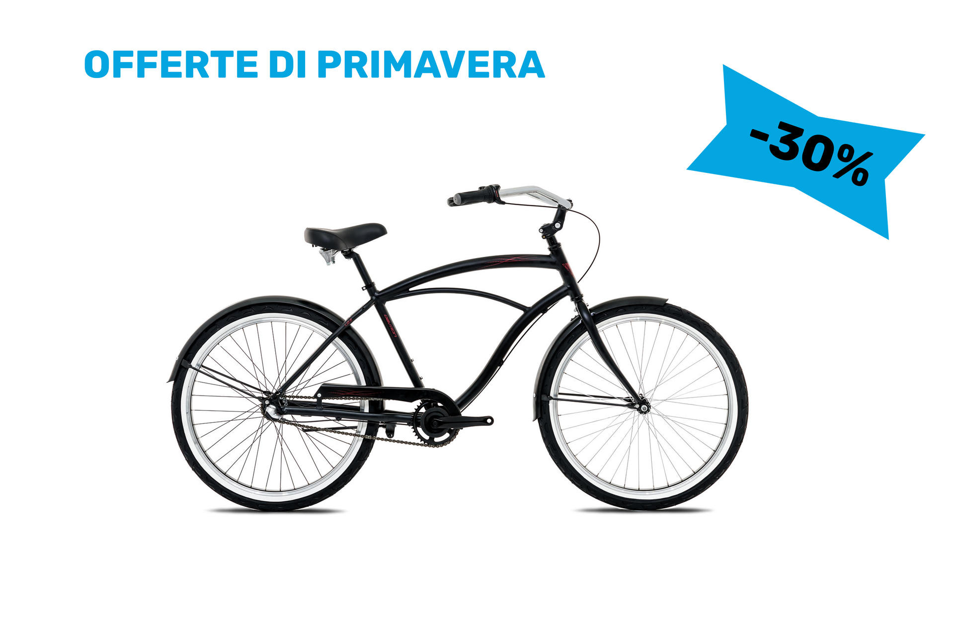 Biciclette Cruiser da uomo Devron Man Cruz.L2.6 Satin Black 445 mm