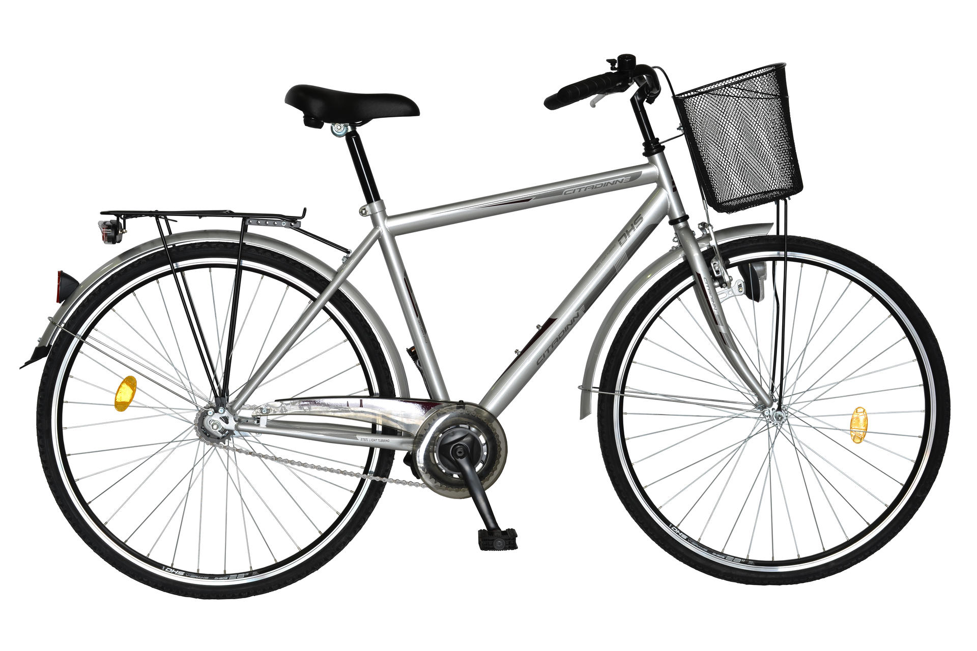 Bicicletta uomo da città DHS Citadinne 2831 Grey-Light-Red 520mm