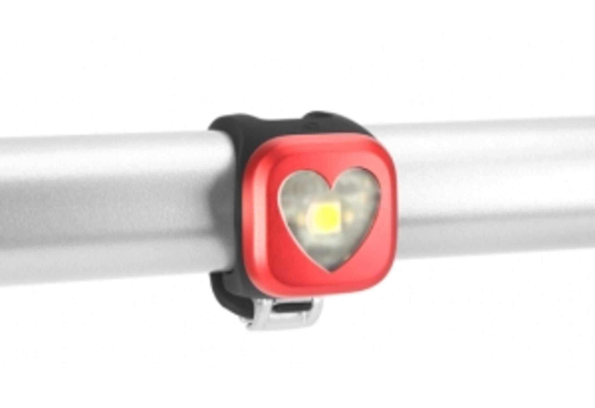 Luce Knog Blinder 1 Heart Rosso - Anteriore - Ricaricabile
